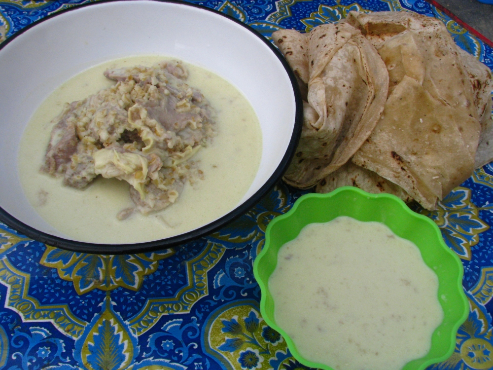 Shown with Bedouin Bread (Shrak) and a bowl of the soup to drink.